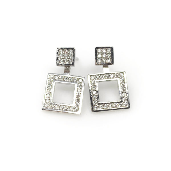 Square Crystal Post Earrings