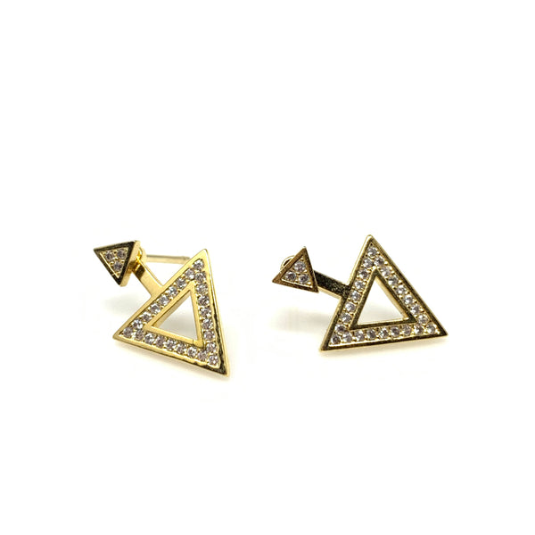 Crystal Triangle Post Earrings, Earrings - www.thestoneflower.com