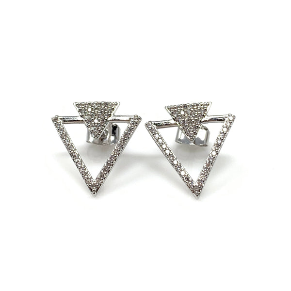 Double Triangle Post Earrings, Earrings - www.thestoneflower.com