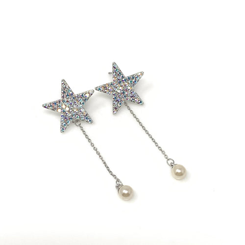 Star With Pearl Dangle Earrings, Earrings - www.thestoneflower.com