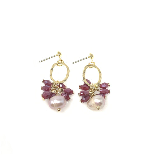 Faux Pearl with Crystal Party Earrings, Earrings - www.thestoneflower.com