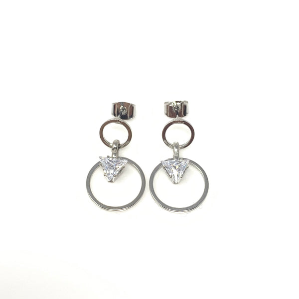 Double Hoops with Crystal Post Earrings, Earrings - www.thestoneflower.com