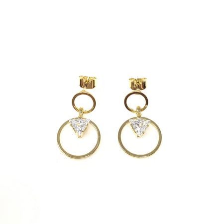 Golden Bird with Diamond Post Earrings