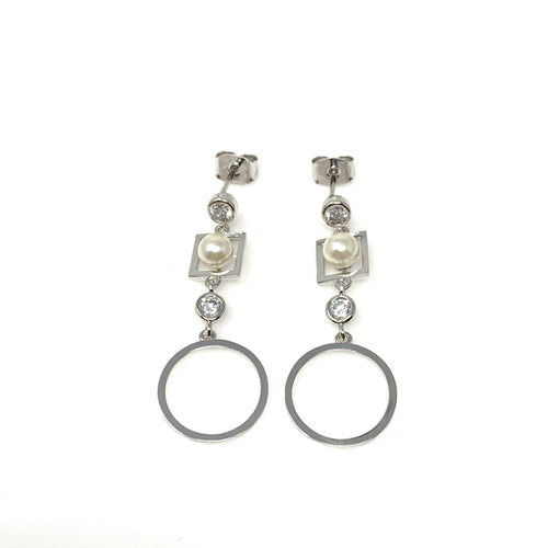 Hoop Faux Pearl Dangling Earrings, Earrings - www.thestoneflower.com