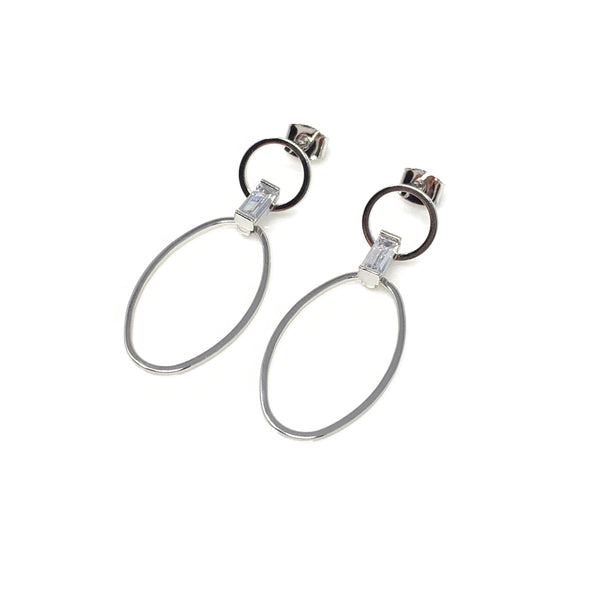 Double Oval Cubic Post Earrings, Earrings - www.thestoneflower.com