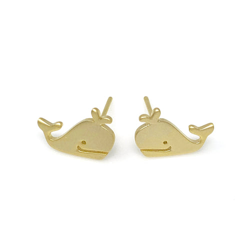 Matt Gold Whale Post Earrings, Earrings - www.thestoneflower.com