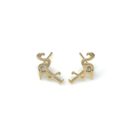 Golden Dachshund with Diamond Post Earrings