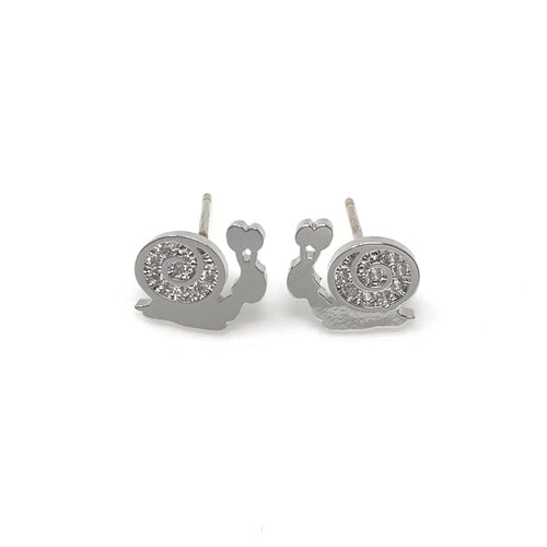 Silver Diamond Snail Post Earrings