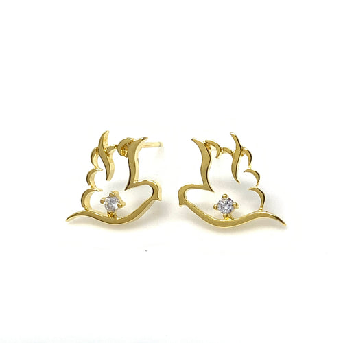 Golden Bird with Diamond Post Earrings, Earrings - www.thestoneflower.com