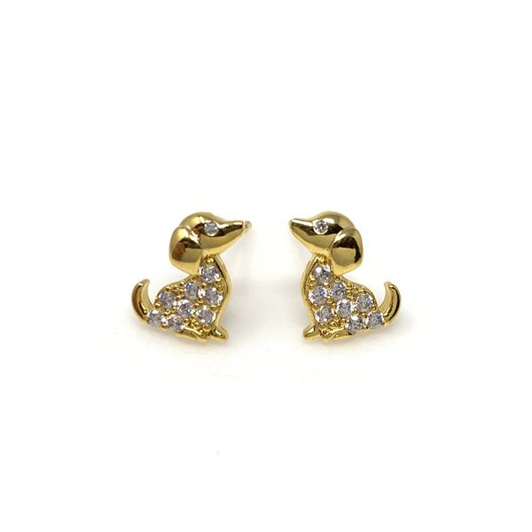 Golden Dachshund with Diamond Post Earrings, Earrings - www.thestoneflower.com