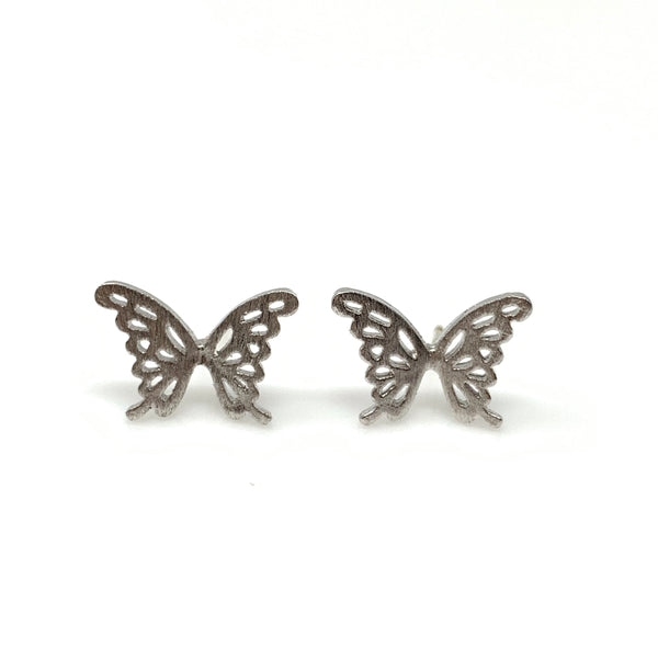 Silver Hollow Butterfly Post Earrings
