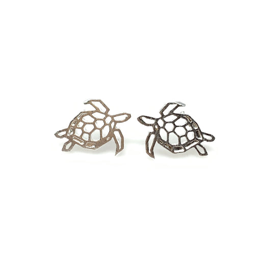 Silver Swimming turtle Earrings, Earrings - www.thestoneflower.com