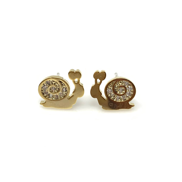 Silver Diamond Snail Post Earrings, Earrings - www.thestoneflower.com