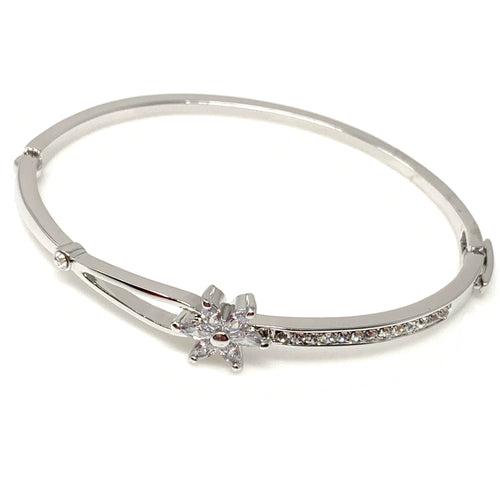 Swarovski Crystal Bangle Bracelet with Flower