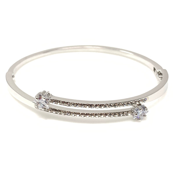 Double Swarovski Crystal Bangle Bracelet, Bracelets - www.thestoneflower.com