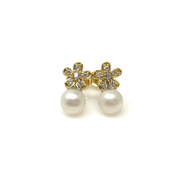 Crystal Flower on Pearl Earrings, Earrings - www.thestoneflower.com