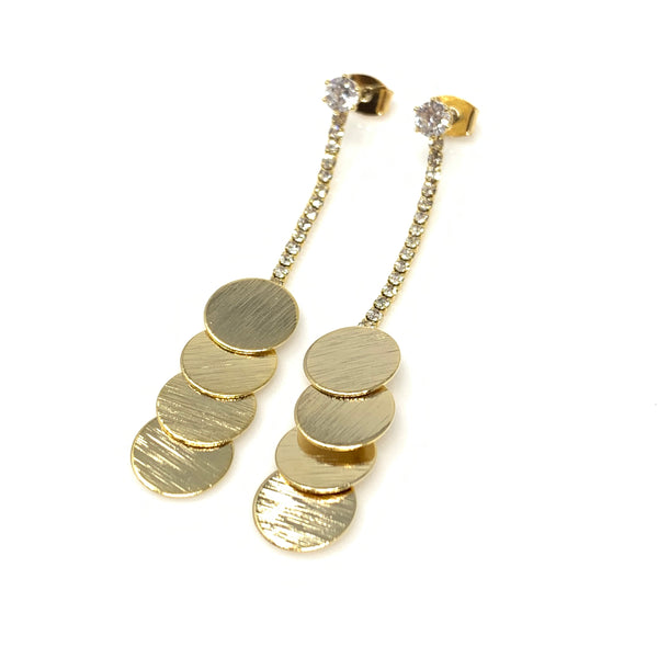 Tripple Gold Circle Dangling Earrings, Earrings - www.thestoneflower.com