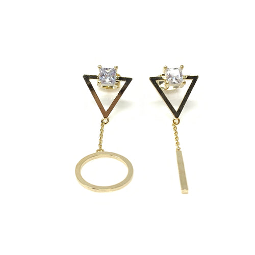 Crystal Triangle Dangling Earrings, Earrings - www.thestoneflower.com