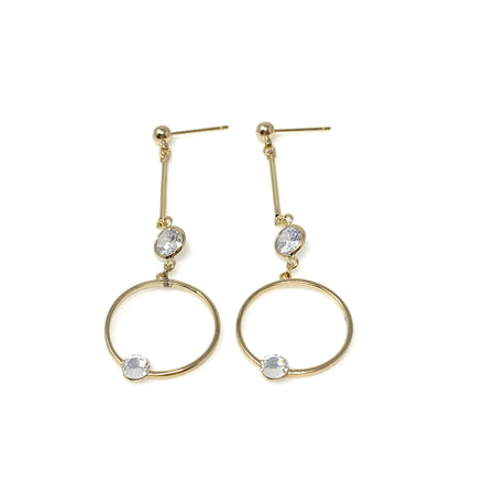 Double Hoops with Crystal Post Earrings