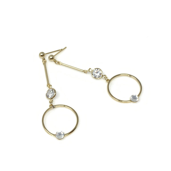 Dangling Crystal Hoop Earrings, Earrings - www.thestoneflower.com