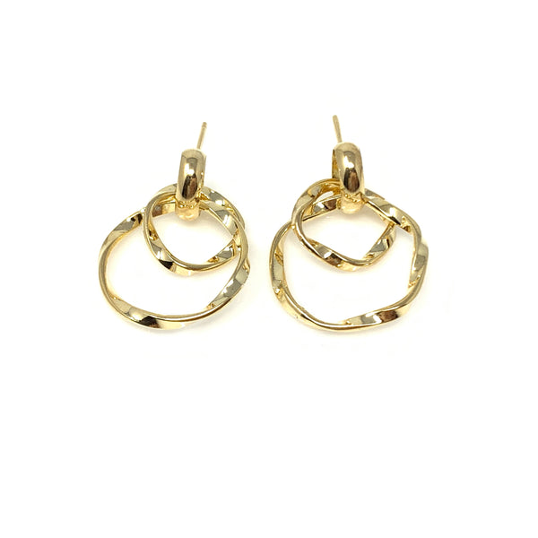 Double Twisted Hoop Post Earrings, Earrings - www.thestoneflower.com