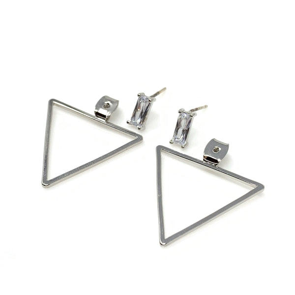 Rectangle Crystal with Triangle Post Earrings, Earrings - www.thestoneflower.com