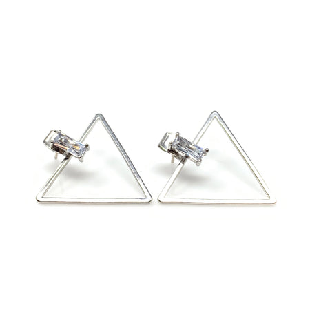 Crystal Triangle on Bar and Chain Dangling Earrings