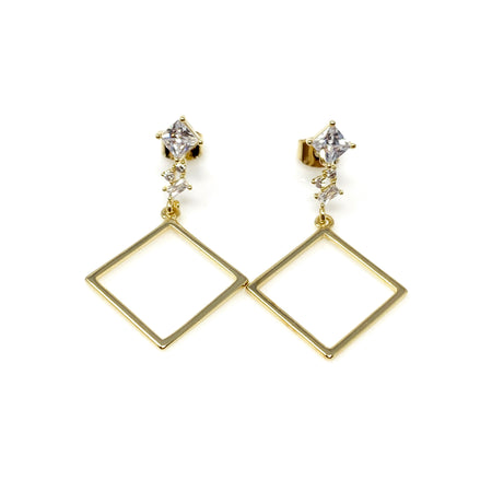 Linear Cubic Dangling on Triangle Earrings