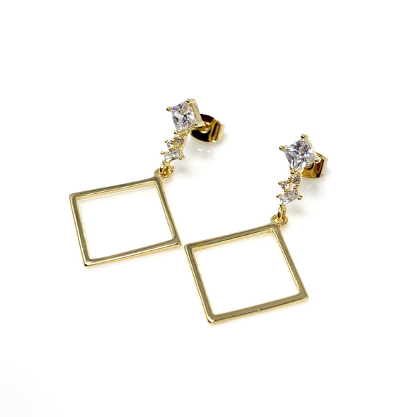 Gold Crystal Dangling Square Earrings, Earrings - www.thestoneflower.com