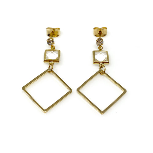 Gold Square Crystal Dangling Earrings, Earrings - www.thestoneflower.com