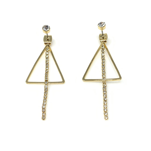 Linear Cubic Dangling on Triangle Earrings, Earrings - www.thestoneflower.com