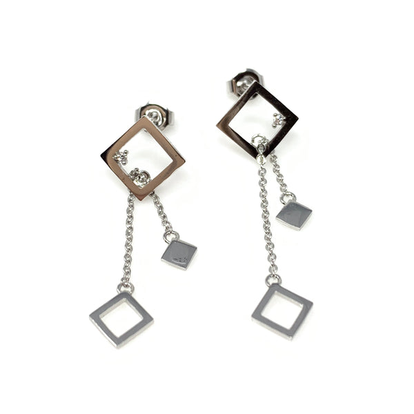 Silver Square Dangling Earrings, Earrings - www.thestoneflower.com