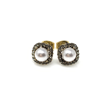 Pearl Drop With Crystal Flower Earrings