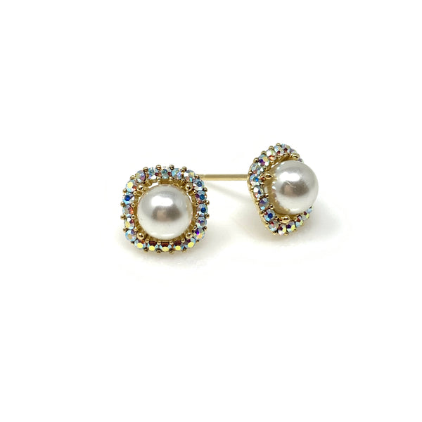 Faux Pearl Rounded Diamond Post Earrings, Earrings - www.thestoneflower.com