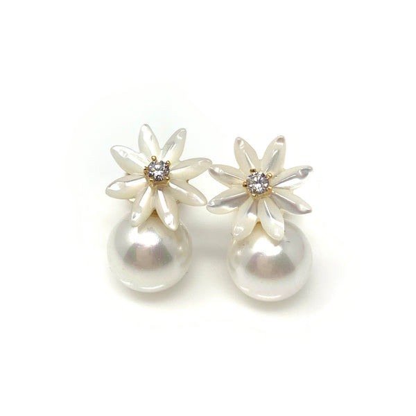 Pearl Flower Post Earrings, Earrings - www.thestoneflower.com