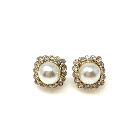 Crystal Flower on Pearl Earrings
