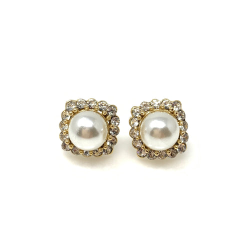 Diamond& Pearl Post Earrings, Earrings - www.thestoneflower.com