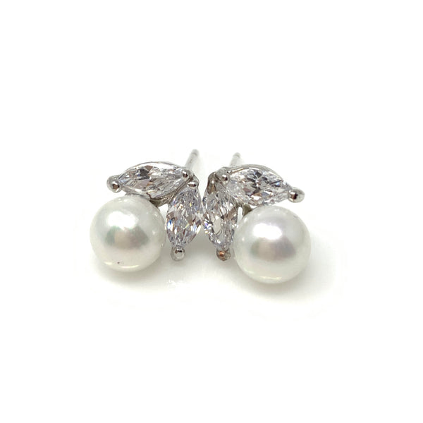 Crystal Leaf on Pearl Post Earrings, Earrings - www.thestoneflower.com