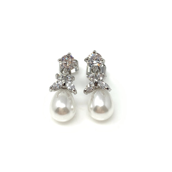 Oval Pearl Drop with Cubic Butterfly Earring, Earrings - www.thestoneflower.com