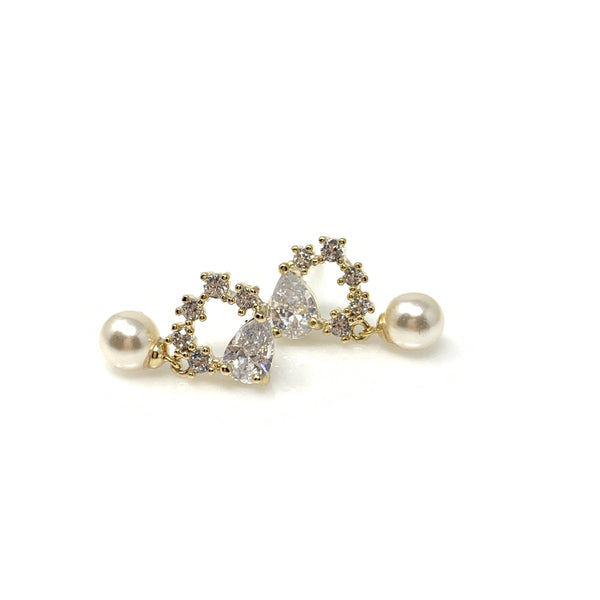 Pearl Drop With Cubic Heart Earrings, Earrings - www.thestoneflower.com