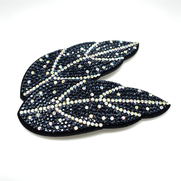Navy blue & White Rhinestone Leaf Snap Clip, Hair Accessories - www.thestoneflower.com