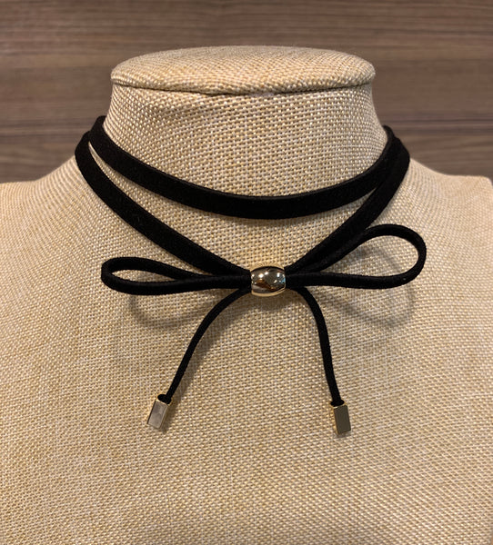 Black Velvet Bow Choker Necklace with Gold Tone, Necklaces - www.thestoneflower.com