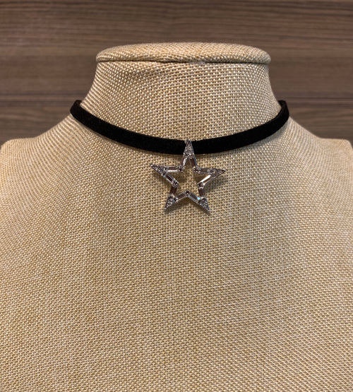 Cubic Silver Star Velvet Choker Necklace, Necklaces - www.thestoneflower.com