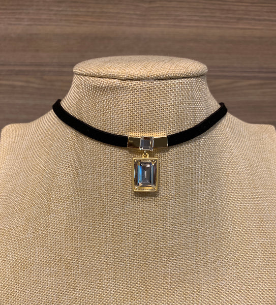 Gold Square Cubic Velvet Choker Necklace, Necklaces - www.thestoneflower.com