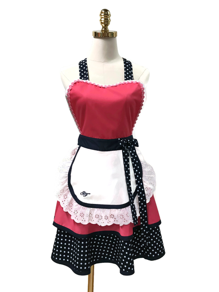 Lovely White Dot on Black Hostess Apron