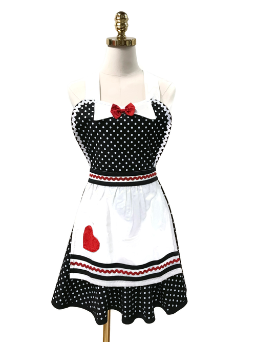 Red Bow Hostess Apron, Apron - www.thestoneflower.com
