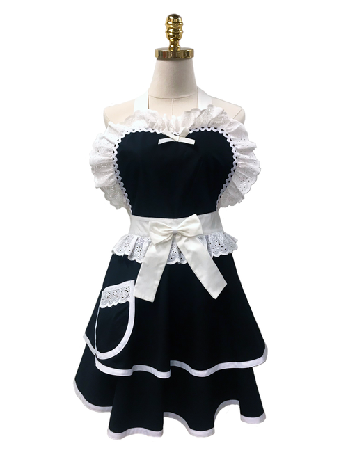 Black & White Double-Layered Apron, Apron - www.thestoneflower.com