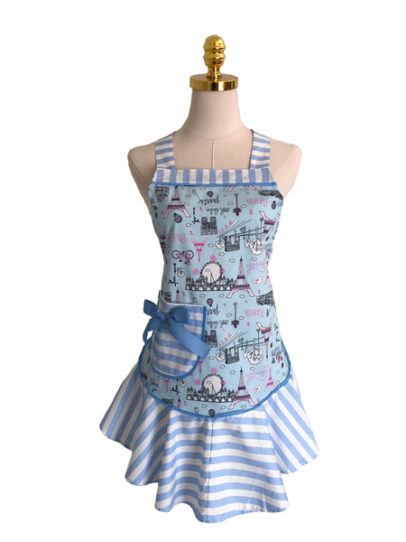 Three button Sea symbol on blue Sassy Apron