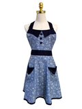 Three button Sea symbol on blue Sassy Apron, Apron - www.thestoneflower.com