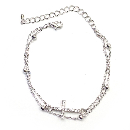 Double Strand Cross Bracelet, Bracelets - www.thestoneflower.com